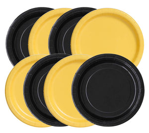 "Black and Yellow 9"" Dinner Paper Plates, 8 piece"