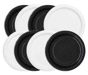 "Black and White 7"" Dessert Paper Plates, 8 piece"
