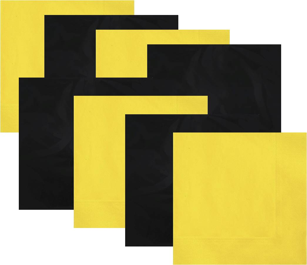 Black and Yellow Luncheon Napkins, 16 piece