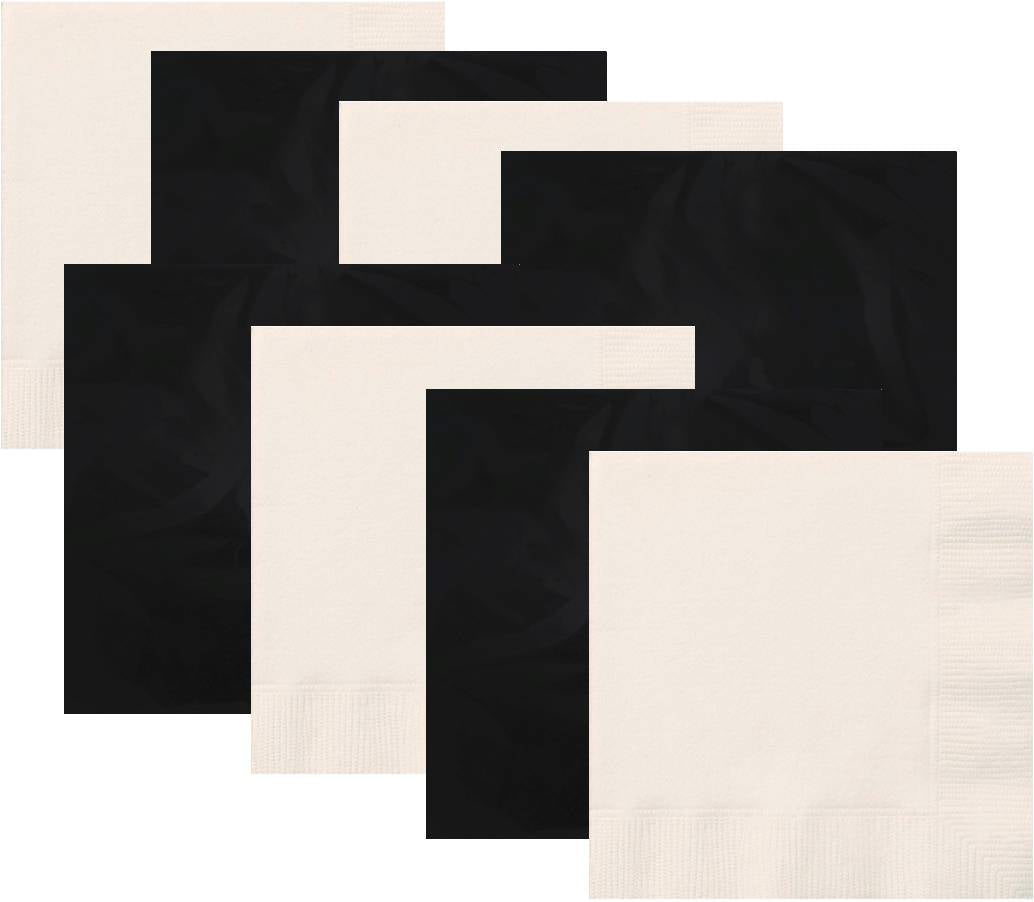 Black and White Luncheon Napkins, 16 piece
