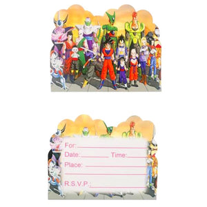 Dragonball Z invitations, party supplies