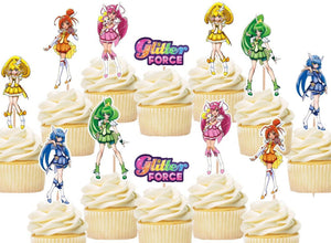 Glitter Force Cupcake Toppers