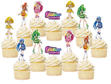 Load image into Gallery viewer, Glitter Force Cupcake Toppers, Handmade