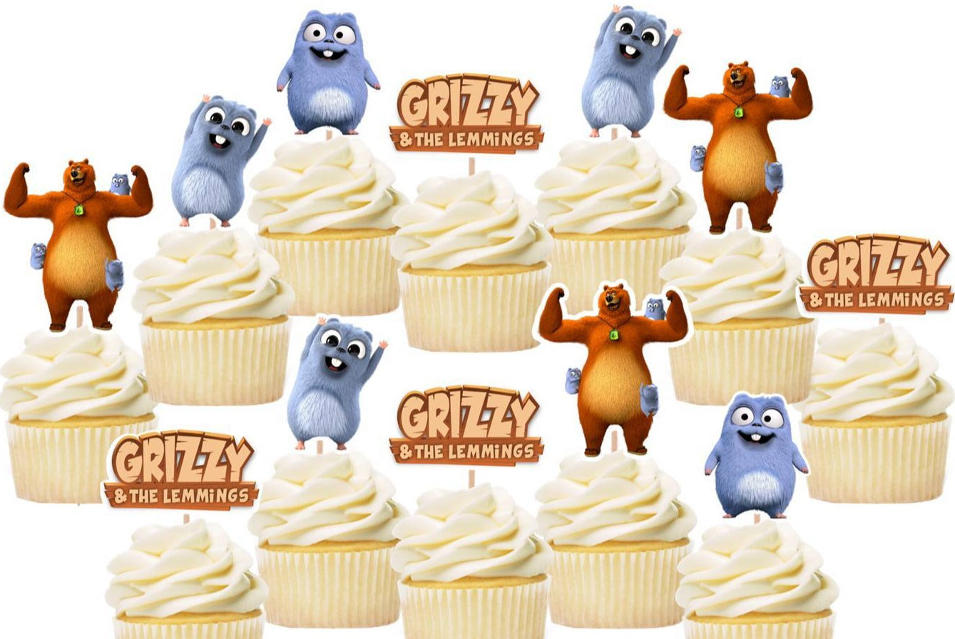 Grizzy and The Lemmings Cupcake Toppers