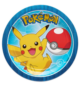 Pokemon Dessert Plates, Pokemon Birthday Party Supplies, Pikachu party plates