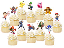 Load image into Gallery viewer, Mario Super Smash Bros Cupcake Toppers, Handmade