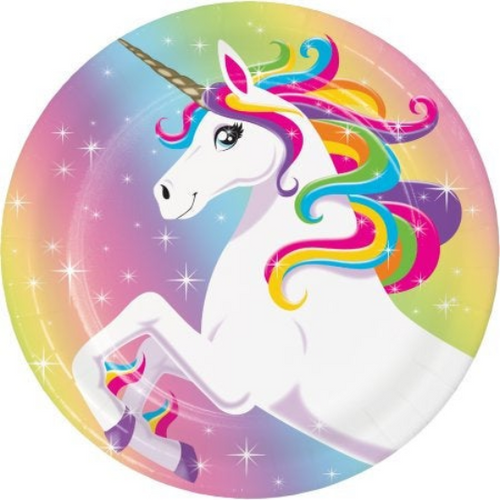 Rainbow Unicorn Party Supplies, Cake Dessert Plates
