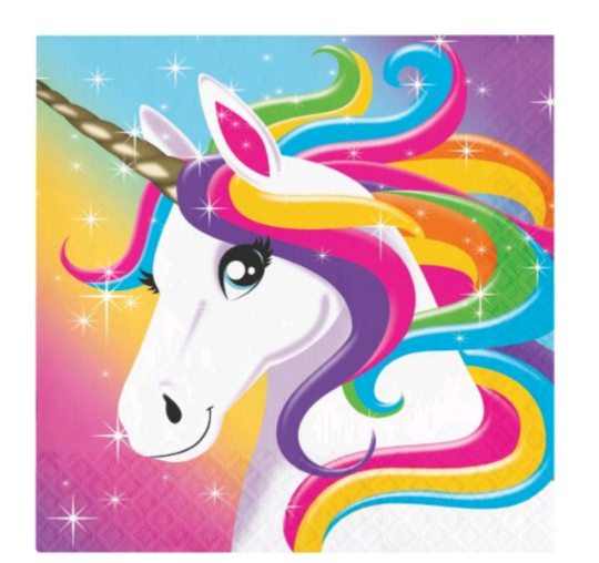 Rainbow Unicorn Party Supplies, Napkins