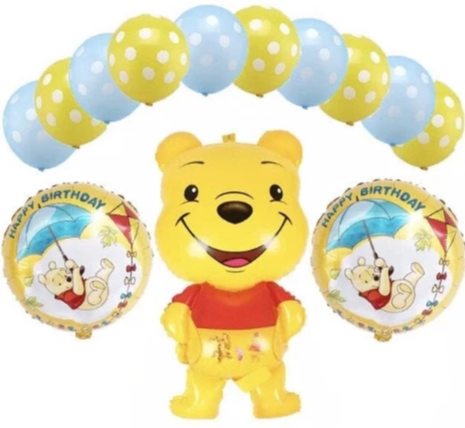 Winnie The Pooh Happy Birthday Party Balloons, 13 Piece Set