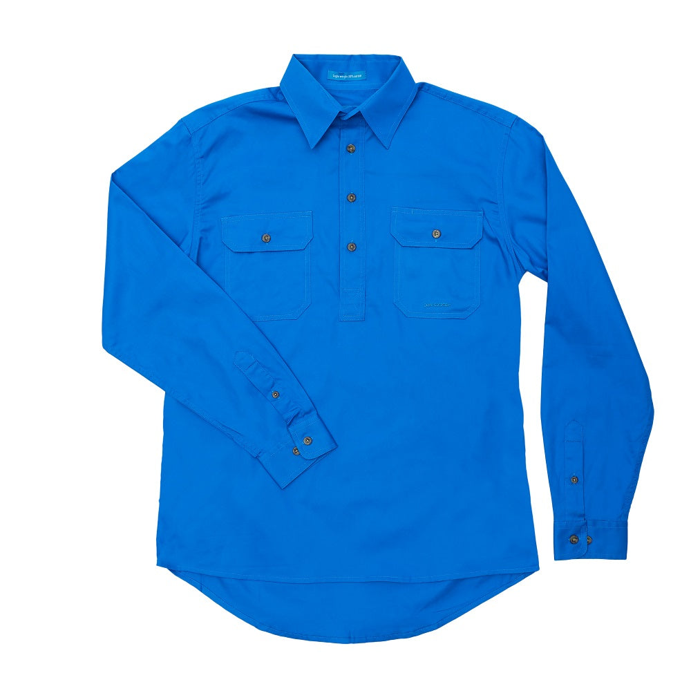 Just Country Mens Cameron Shirt | 1/2 Button | Blue Jewel
