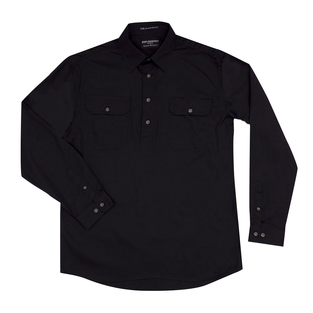 Just Country Mens Cameron Shirt | 1/2 Button | Black