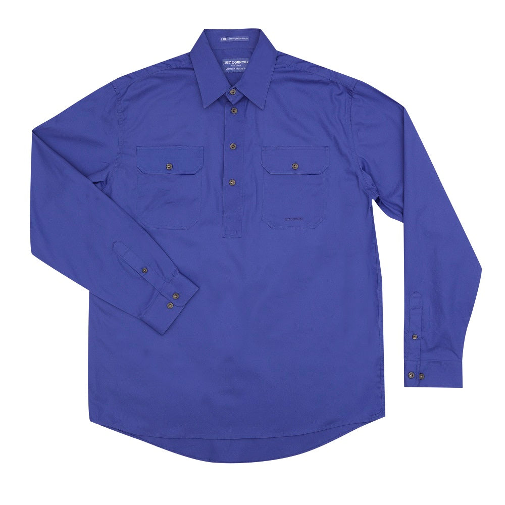 Just Country Mens Cameron Shirt | 1/2 Button | Blue