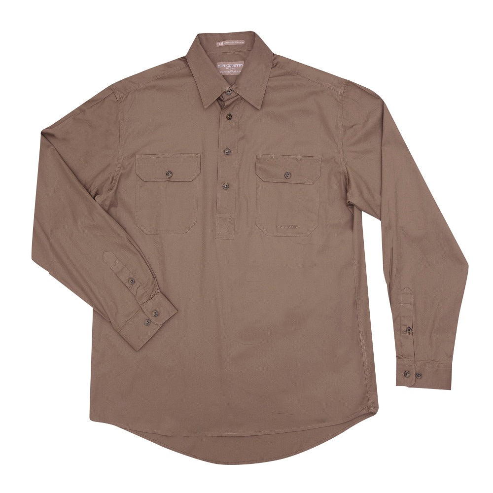 Just Country Mens Cameron Shirt | 1/2 Button | Brown