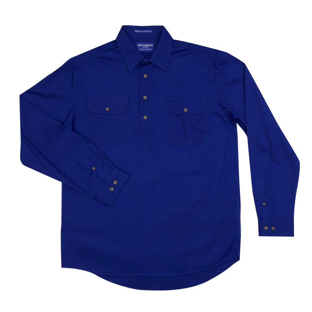 Just Country Mens Cameron Shirt | 1/2 Button | Cobalt