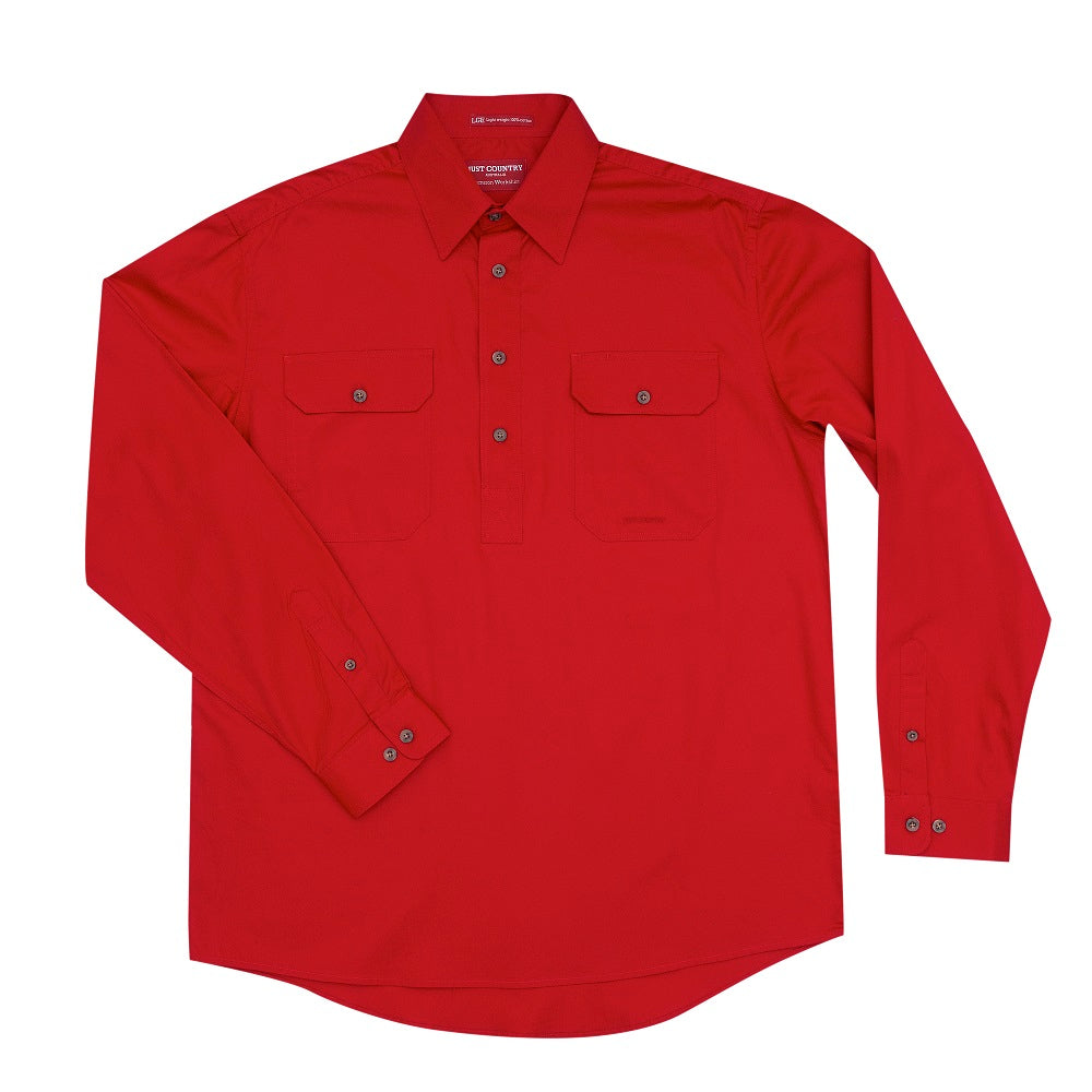 Just Country Mens Cameron Shirt | 1/2 Button | Chilli