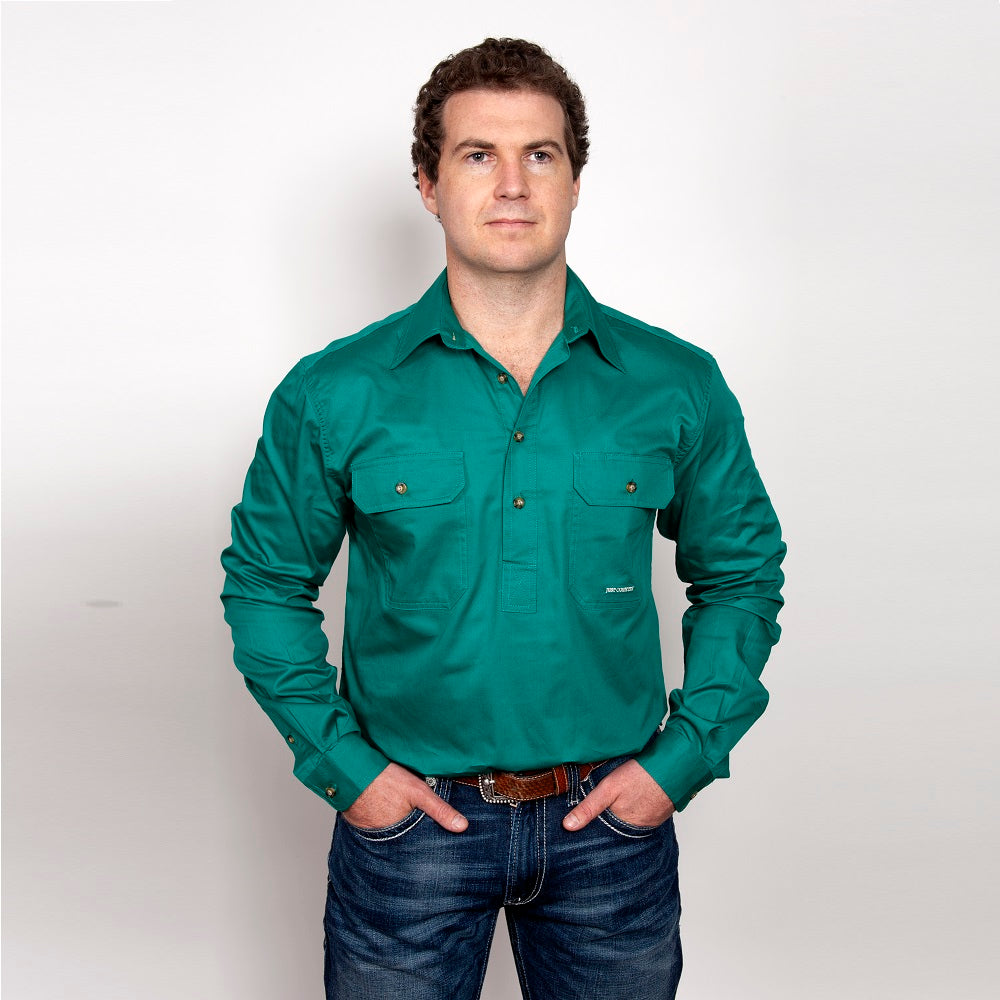Just Country Mens Cameron Shirt | 1/2 Button | Dark Green
