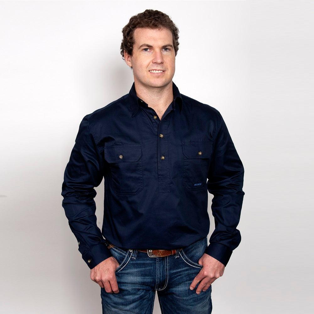 Just Country Mens Cameron Shirt | 1/2 Button | Navy
