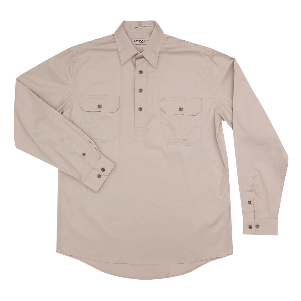 Just Country Mens Cameron Shirt | 1/2 Button | Stone