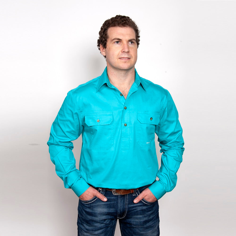 Just Country Mens Cameron Shirt | 1/2 Button | Turquoise