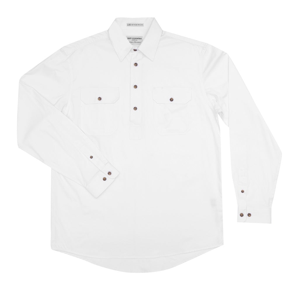 Just Country Mens Cameron Shirt | 1/2 Button | White