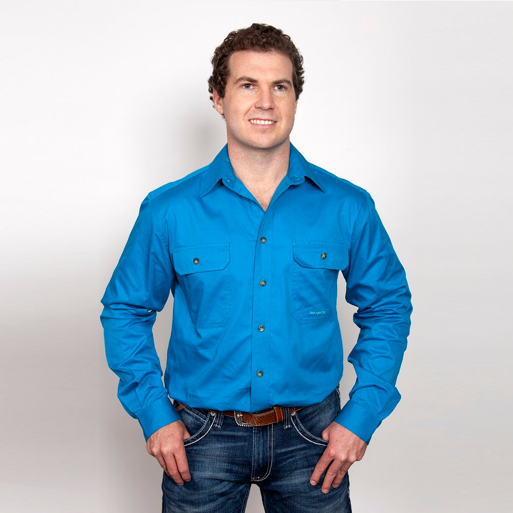 Just Country Mens Evan Shirt | Full Button | Blue Jewel