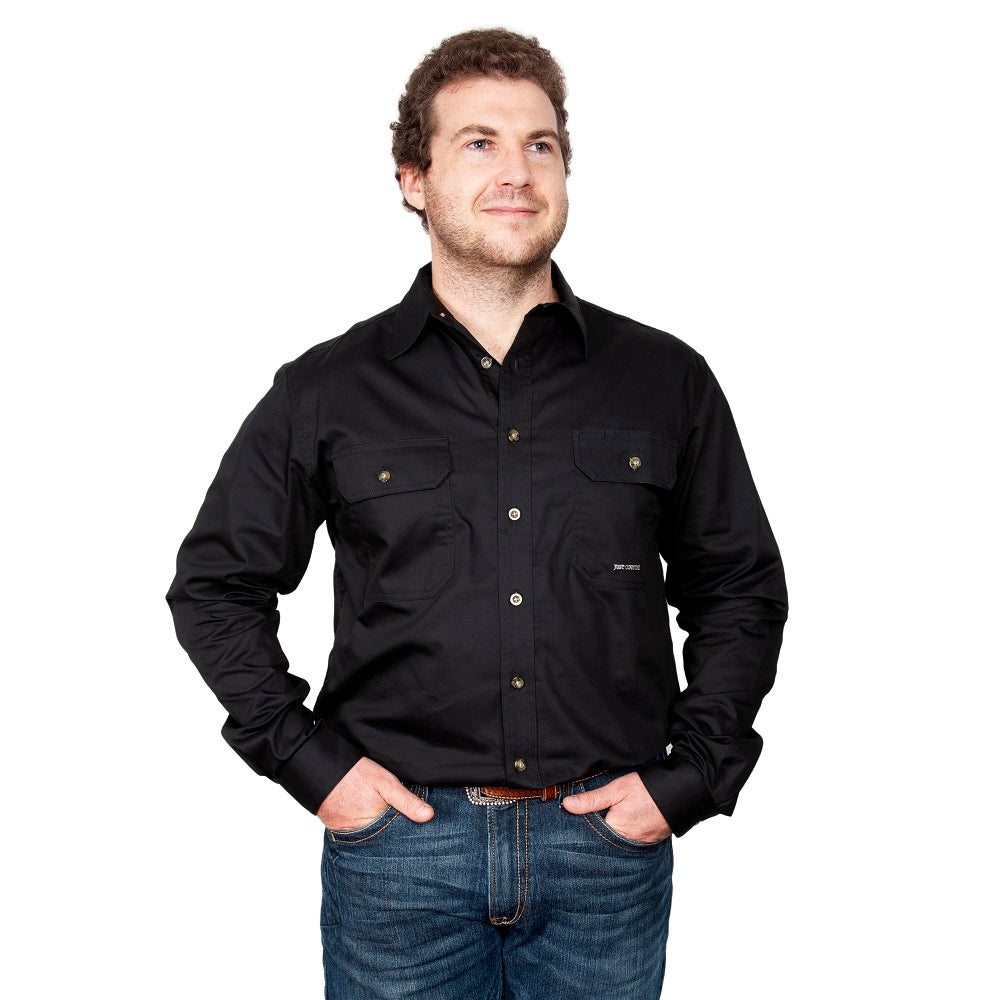 Just Country Mens Evan Shirt | Full Button | Black