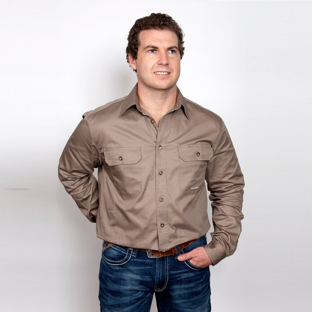 Just Country Mens Evan Shirt | Full Button | Brown