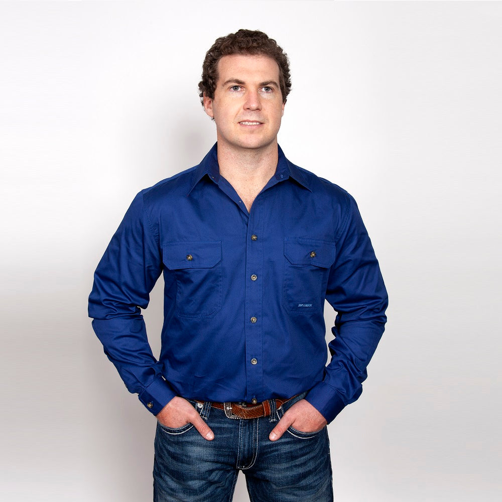 Just Country Mens Evan Shirt | Full Button | Cobalt