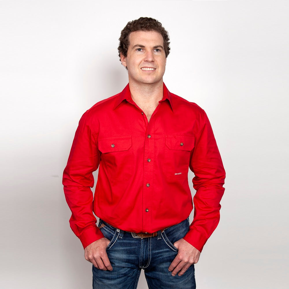 Just Country Mens Evan Shirt | Full Button | Chilli