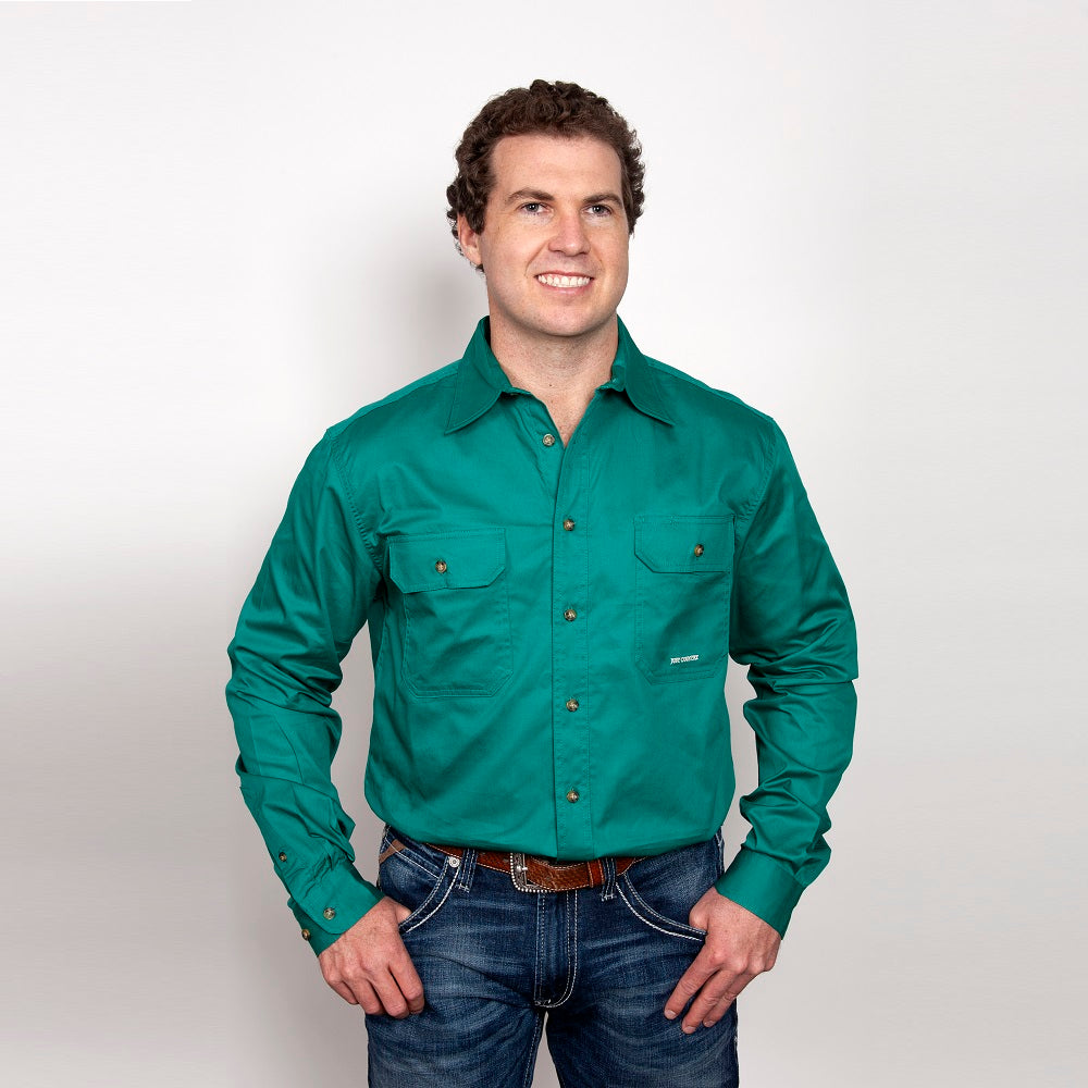 Just Country Mens Evan Shirt | Full Button | Dark Green
