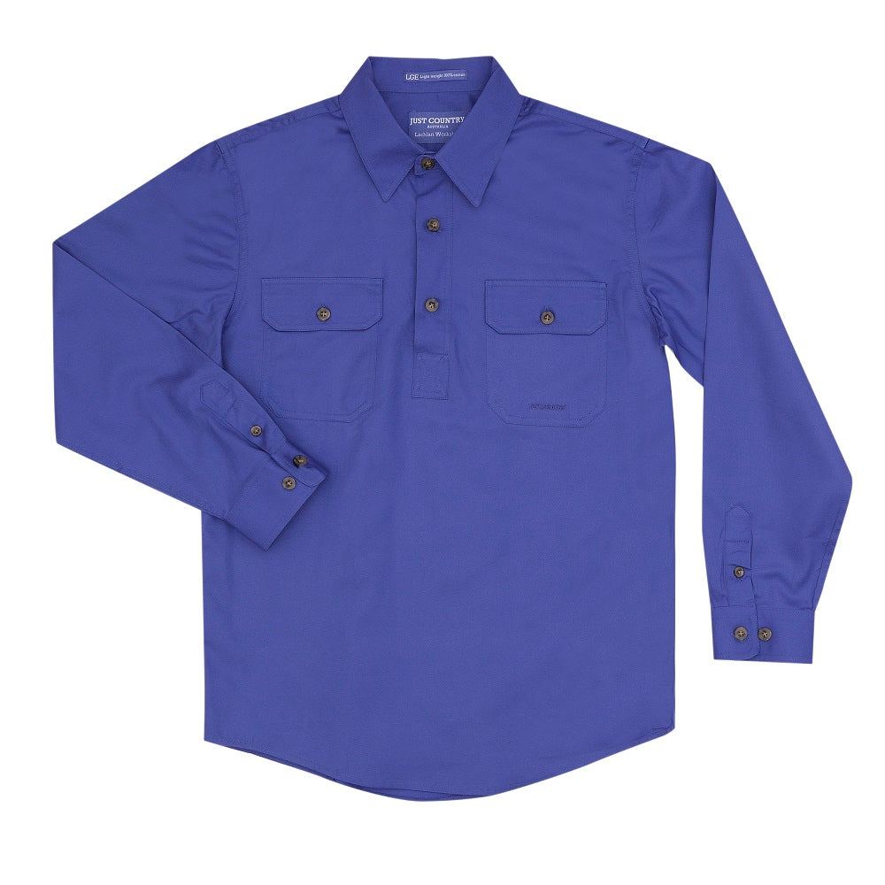 Just Country Boys Lachlan Shirt | 1/2 Button | Blue