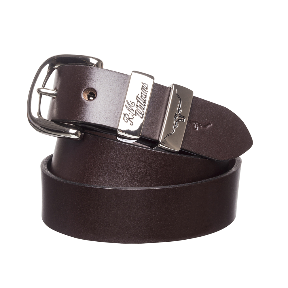 R.M. Williams Belt | 1.25 inch Wide | 3 Piece | Solid Hide | Chestnut