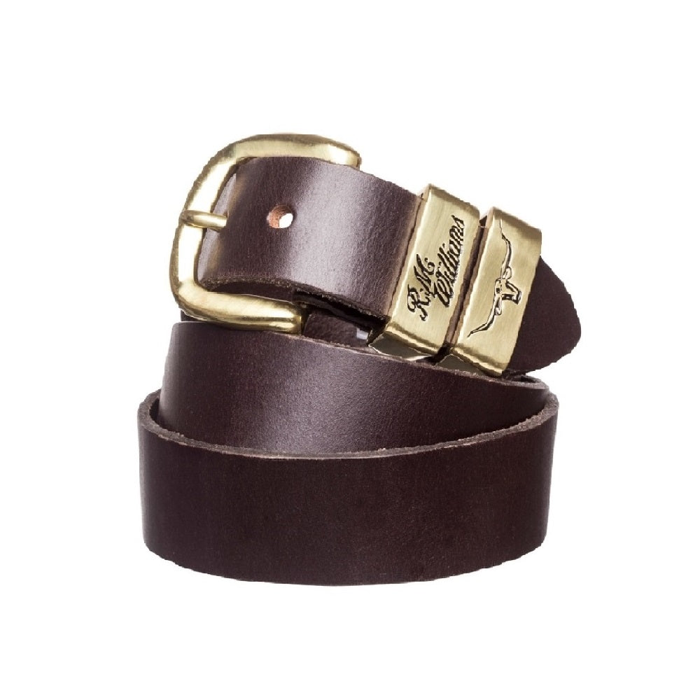R.M. Williams Belt | 1.5 inch Wide | 3 Piece | Solid Hide | Chestnut