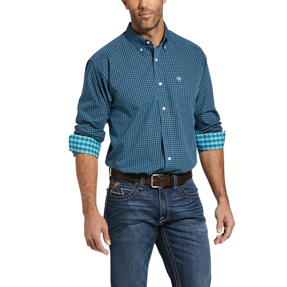 Ariat Mens Wrinkle Free Lager Classic Long Sleeve Shirt | Petrol Blue