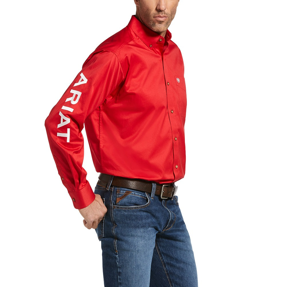 Ariat Mens Team Logo Twill Classic Long Sleeve Shirt | Mars Red