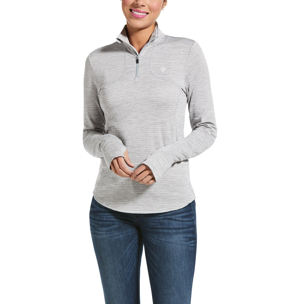 Ariat Womens Gridwork 1/4 Zip Long Sleeve Baselayer | Sleet