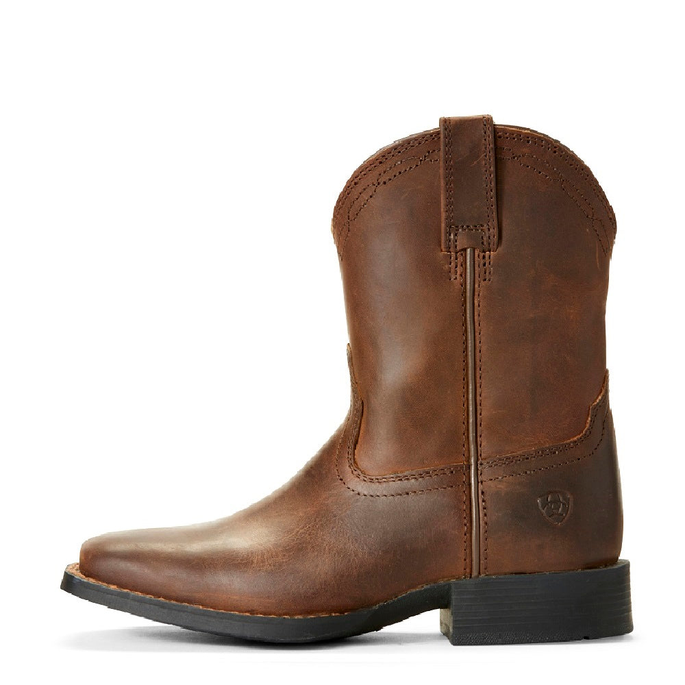 Ariat Childrens Heritage Roper Wide Square Toe | Distressed Brown