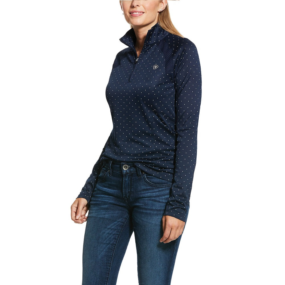 Ariat Womens Sunstopper 1/4 Zip | Navy Dot