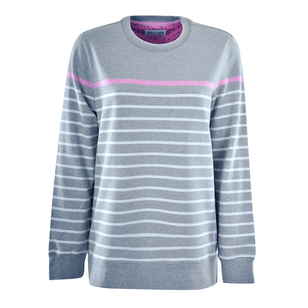 Thomas Cook Womens Stripe Crew Neck Long Sleeve Top | Grey Marle