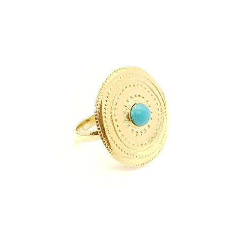Bague Ronde Pierre Turquoise | SHABADA