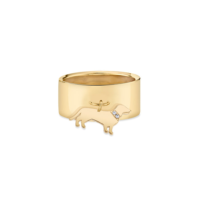OSCAR: DACHSHUND CHARM RING, DIAMOND