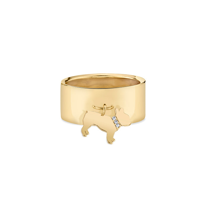 MONTE: FRENCH BULLDOG CHARM RING, DIAMOND