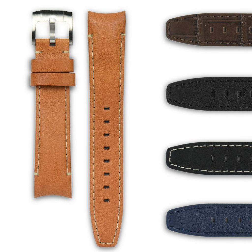 Curved End Leather Strap