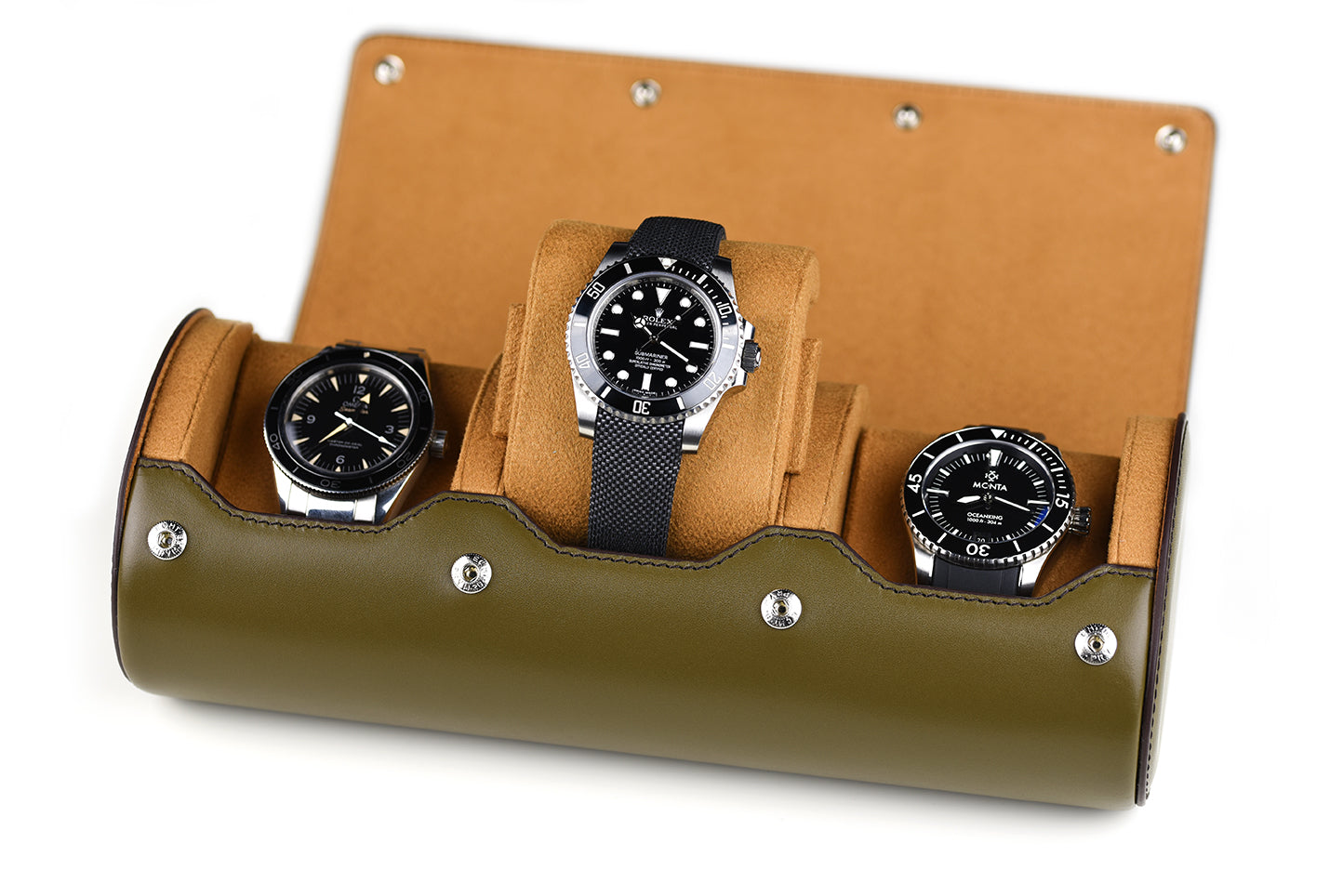 Leather Watch Roll - (3 Watches)