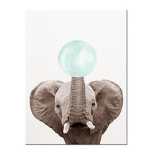Afbeelding in Gallery-weergave laden, Poster Bubblegum Safari Turquoise Olifant