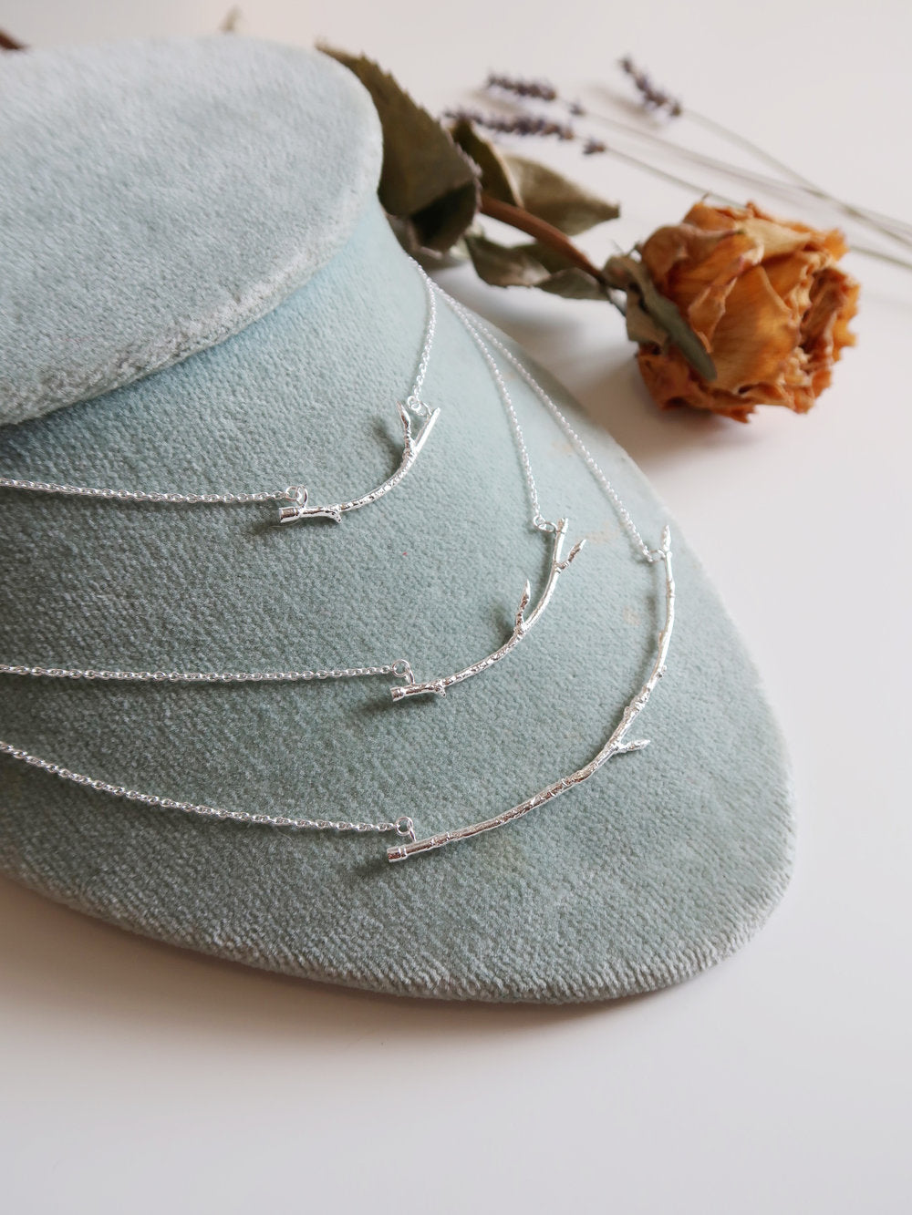 Curved Silver Branch necklace