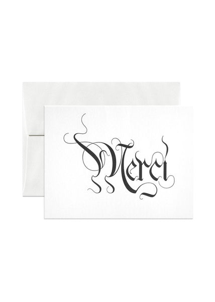 Merci, Us, and Sorry letterpress cards
