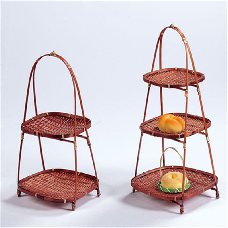 Bamboo Weaving Straw creative Fruit Basket rack Wicker Bread Food Storage Kitchen Decorate Plate tray Panier Osier Container