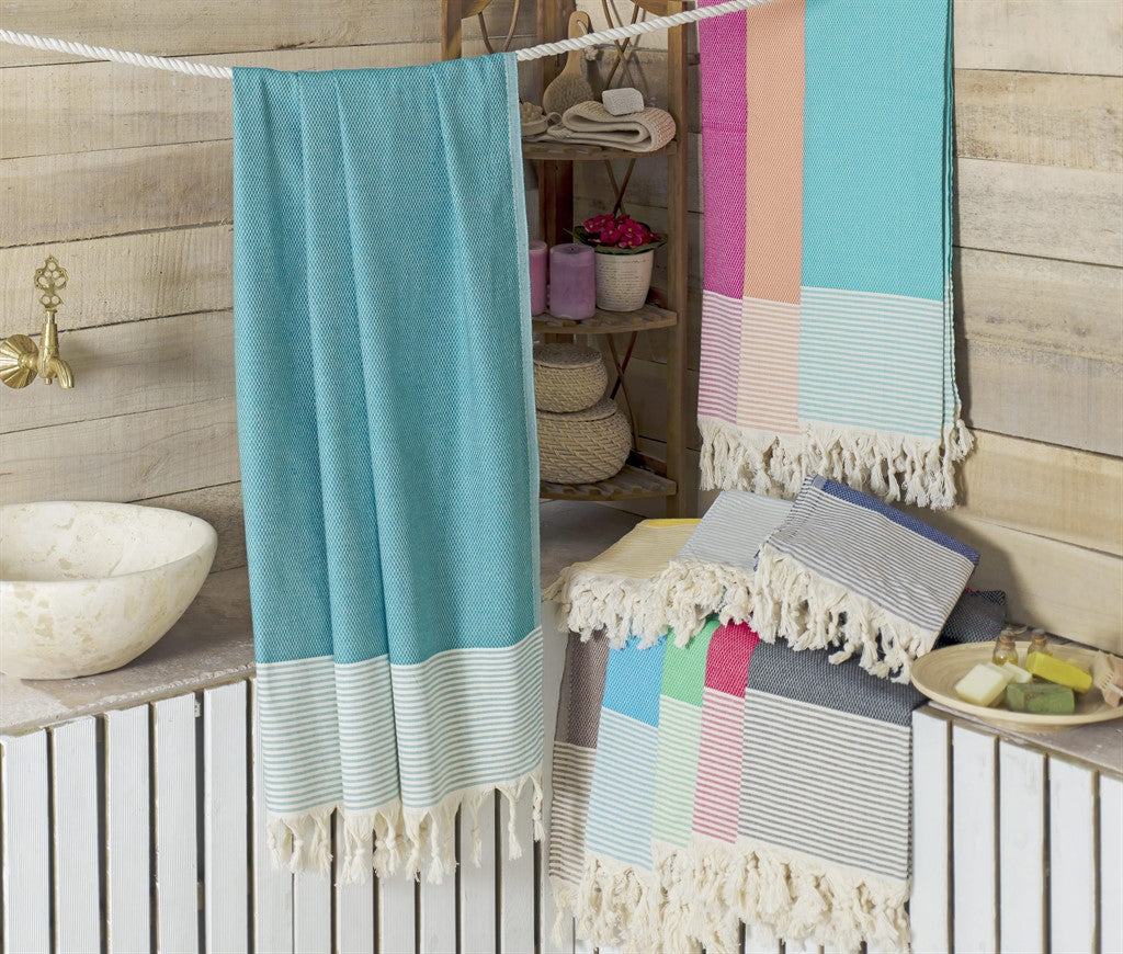 koton kulture toronto turkish towel honeybee peshtemal with white stripe at the very bottom and tassels in turquoise marine blue grey