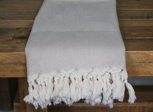 koton kulture toronto turkish towel diamond cut peshtemal with white stripe at the very bottom and tassels in various solid colours beige